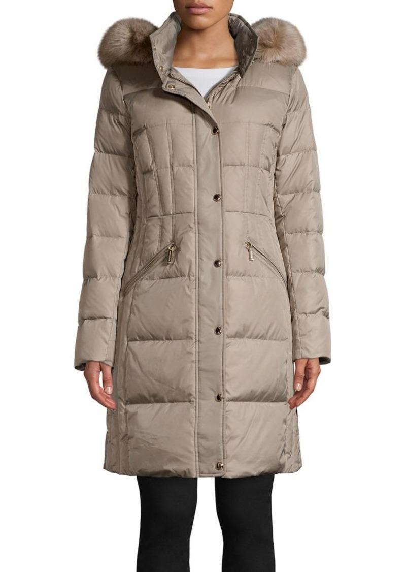 MICHAEL Michael Kors Faux Fur Hood Quilted Walker Coat