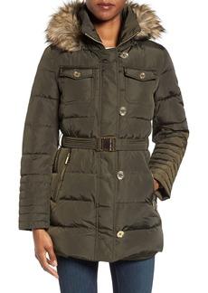 MICHAEL Michael Kors Faux Fur Trim Belted Down & Feather Fill Coat