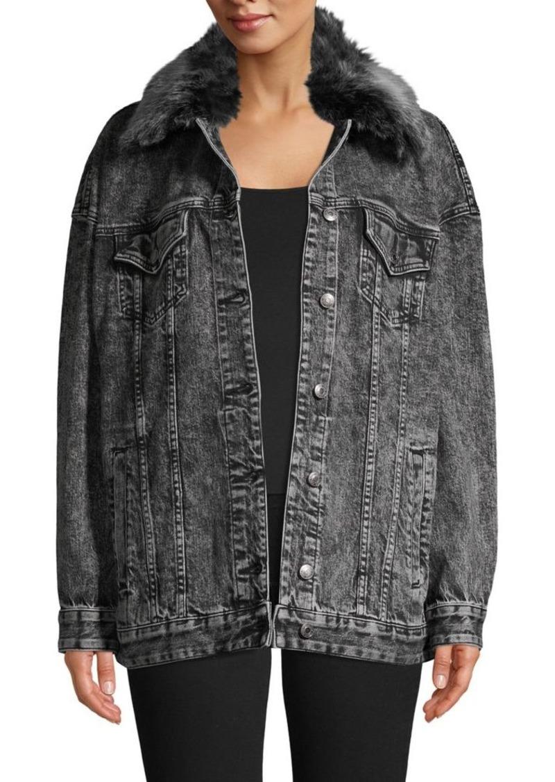 MICHAEL Michael Kors Faux Fur-Trim Denim Jacket