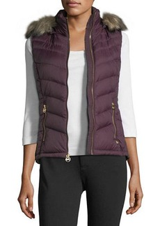 MICHAEL Michael Kors Faux-Fur-Trim Hooded Down Vest