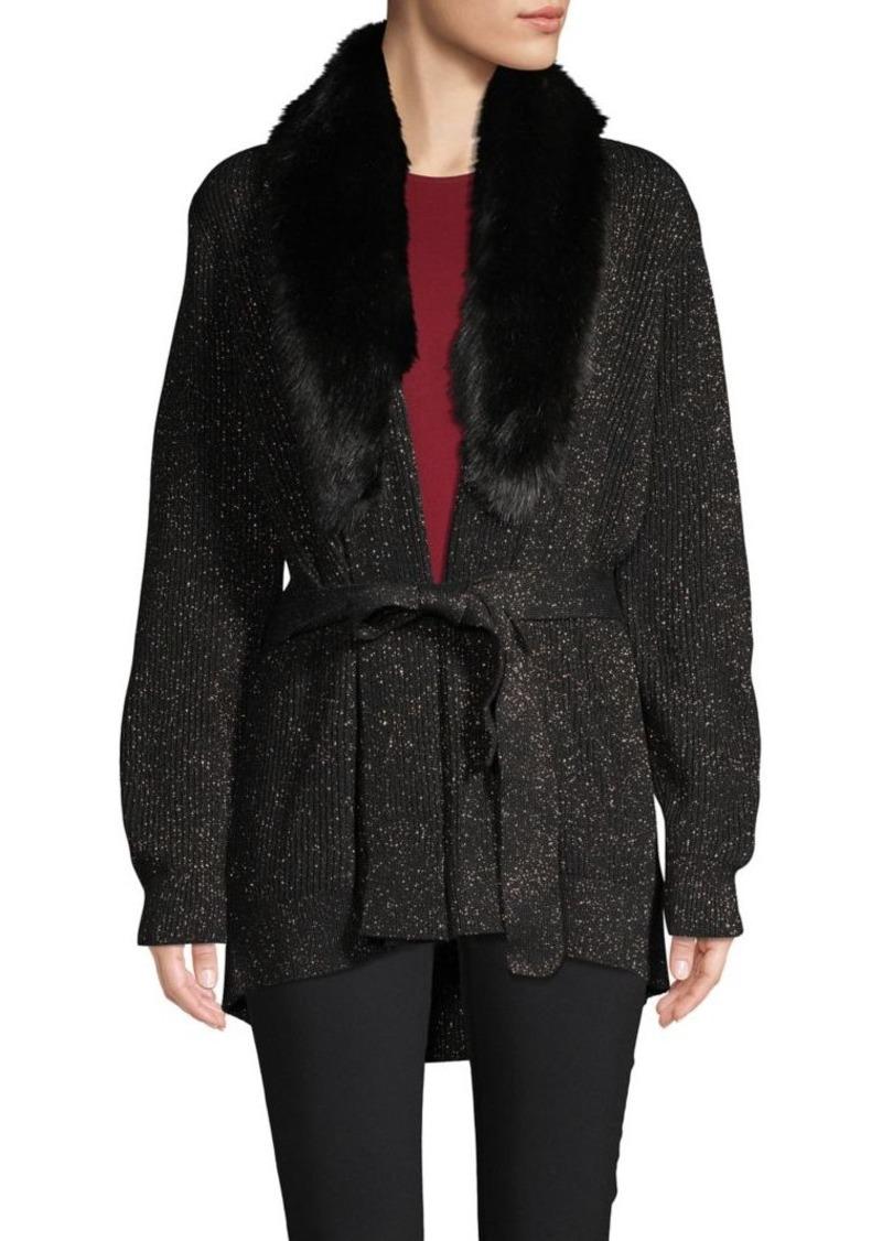 MICHAEL Michael Kors Faux Fur-Trim Metallic Cotton-Blend Cardigan