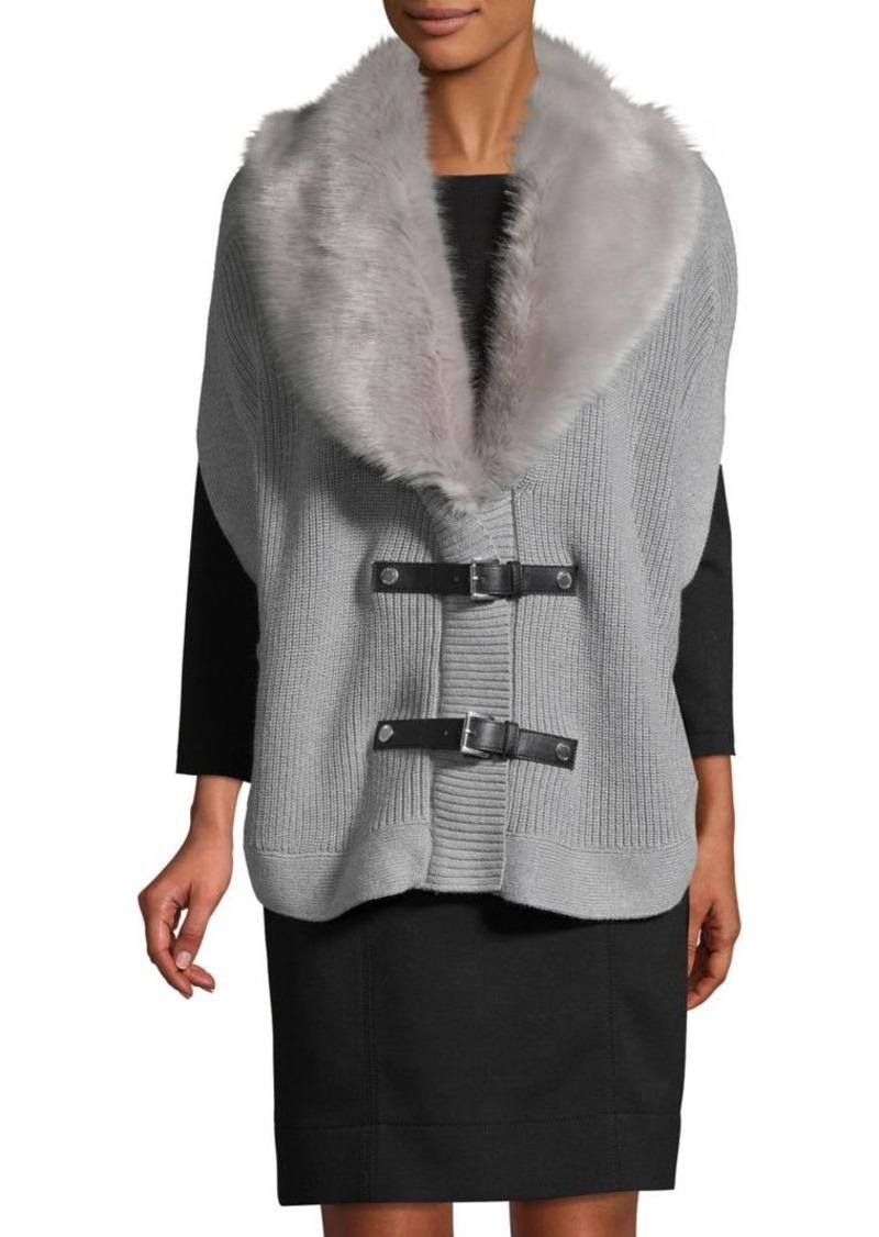 MICHAEL Michael Kors Faux-Fur Trimmed Sweater