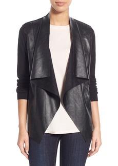 MICHAEL Michael Kors Faux Leather & Knit Cardigan