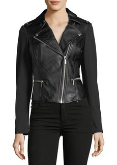 MICHAEL Michael Kors Faux-Leather Biker Jacket with Ponte Sleeves