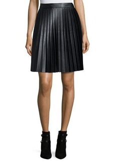 MICHAEL Michael Kors Faux-Leather Pleat Skirt