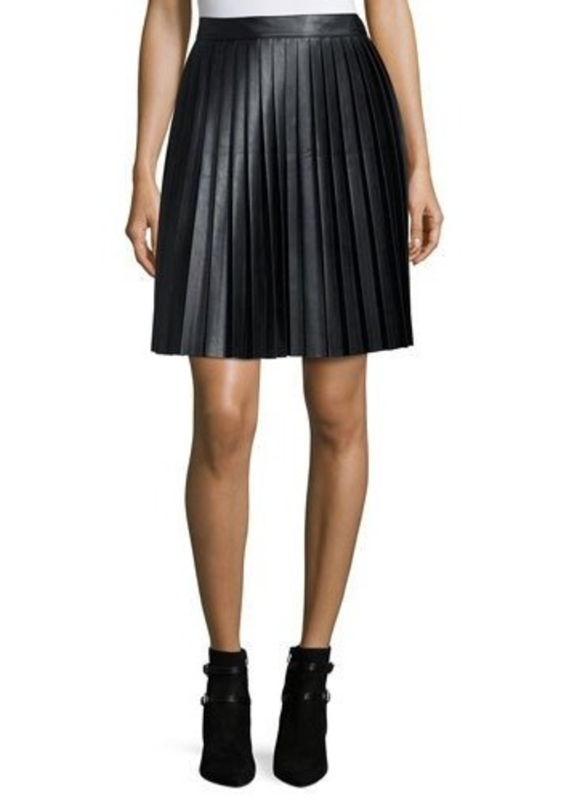 MICHAEL Michael Kors Faux-Leather Pleat Skirt