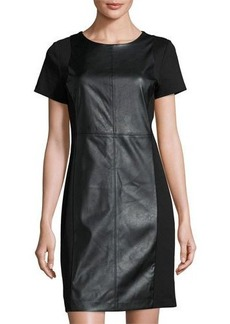 MICHAEL Michael Kors Faux-Leather Ponte Sheath Dress