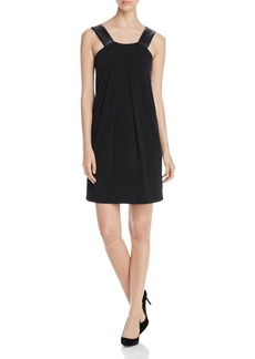 MICHAEL Michael Kors Faux Leather Strap Pleat Dress