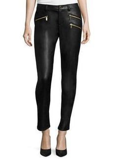 MICHAEL Michael Kors Faux-Leather Zip Skinny Jeans