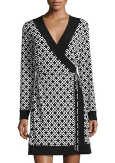 MICHAEL Michael Kors Faux-Wrap Long-Sleeve Border Dress
