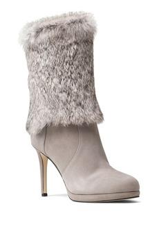 MICHAEL Michael Kors Faye Rabbit Fur and Suede Mid Calf High Heel Booties