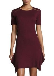 MICHAEL Michael Kors Flare-Hem Zip-Trim Sweaterdress