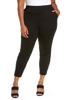 MICHAEL Michael Kors Flat Front Slim Fit Trousers (Plus Size)