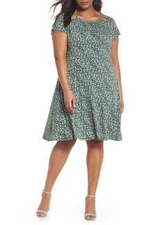 MICHAEL Michael Kors Floral Cutout Jersey Fit & Flare Dress (Plus Size)