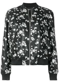 Michael Michael Kors floral embroidered bomber jacket - Black
