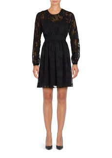 MICHAEL MICHAEL KORS Floral Jacquard Long Sleeved Dress