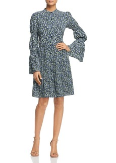 MICHAEL Michael Kors Floral Smocked-Sleeve Shirt Dress