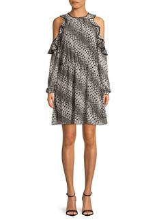 MICHAEL Michael Kors Floral Stripe Ruffled Cutout A-Line Dress