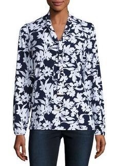 MICHAEL Michael Kors Floral Tie-Neck Top