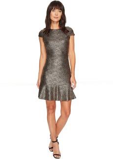 MICHAEL Michael Kors Foil Knit Short Sleeve Flounce Dress
