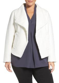 MICHAEL Michael Kors Frayed Open Front Tweed Jacket (Plus Size)