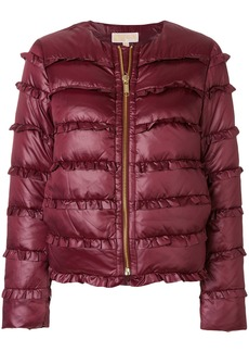 Michael Michael Kors frill trim padded coat - Pink & Purple