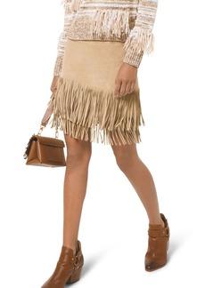 MICHAEL Michael Kors Fringe Leather Skirt