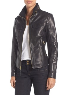 MICHAEL Michael Kors Front Zip Leather Jacket (Regular & Petite)