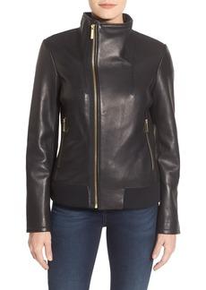MICHAEL Michael Kors Funnel Collar Asymmetrical Zip Leather Jacket