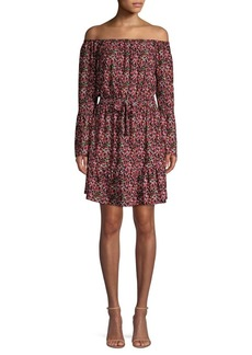 MICHAEL Michael Kors Garden-Printed Off-The-Shoulder Mini Dress