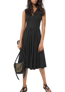 MICHAEL Michael Kors Gathered Waist Midi Dress