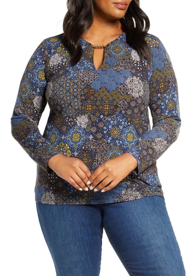 MICHAEL Michael Kors Geo Print Long Sleeve Top