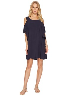 MICHAEL Michael Kors Geometric Glamour Solids Cold Shoulder Ruffle Dress Cover-Up