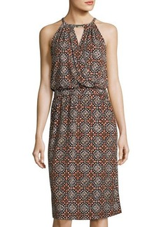 MICHAEL Michael Kors Graphic-Print Midi Halter Dress