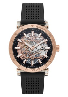 MICHAEL Michael Kors Greer Skeleton Silicone Strap Watch, 43mm