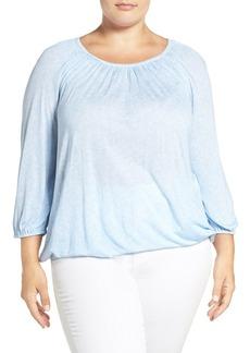 MICHAEL Michael Kors 'Greer Tweed' Print Jersey Peasant Top (Plus Size)