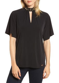 MICHAEL Michael Kors Grommet Neck Shirred Top