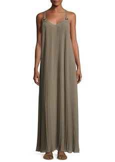 MICHAEL Michael Kors Grommet-Trim Pleated Maxi Dress