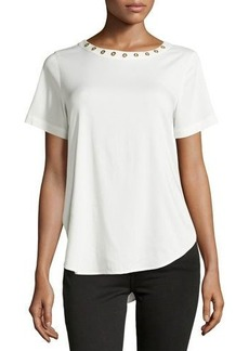 MICHAEL Michael Kors Grommet-Trim Short-Sleeve Blouse