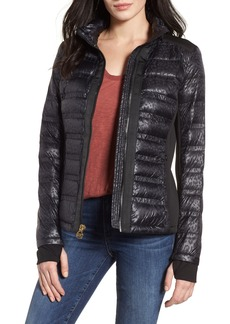 MICHAEL Michael Kors Grosgrain Trim Mixed Media Down Jacket