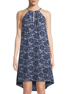MICHAEL Michael Kors Halter Floral Lace-Print Dress