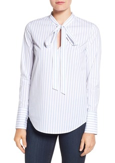 MICHAEL Michael Kors 'Hampton' Tie Neck Stripe Blouse (Regular & Petite)