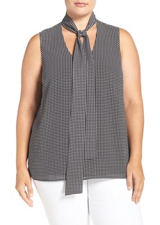 MICHAEL Michael Kors 'Hargett Print' Sleeveless Tie Neck Top (Plus Size)