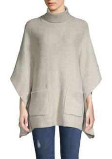 MICHAEL Michael Kors Heathered Cotton & Wool-Blend Turtleneck Poncho