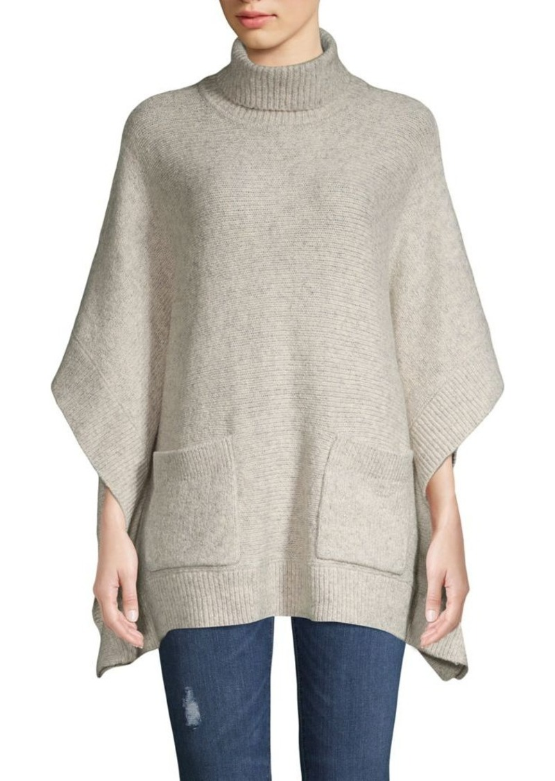 MICHAEL Michael Kors Heathered Cotton & Wool-Blend Turtleneck Poncho