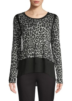 MICHAEL Michael Kors High-Low Leopard-Print Top