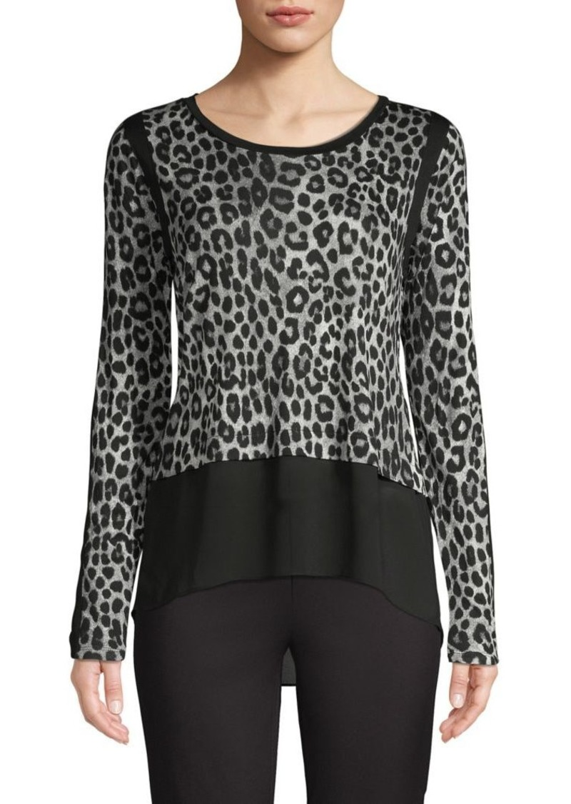 MICHAEL Michael Kors High-Low Leopard-Print Top