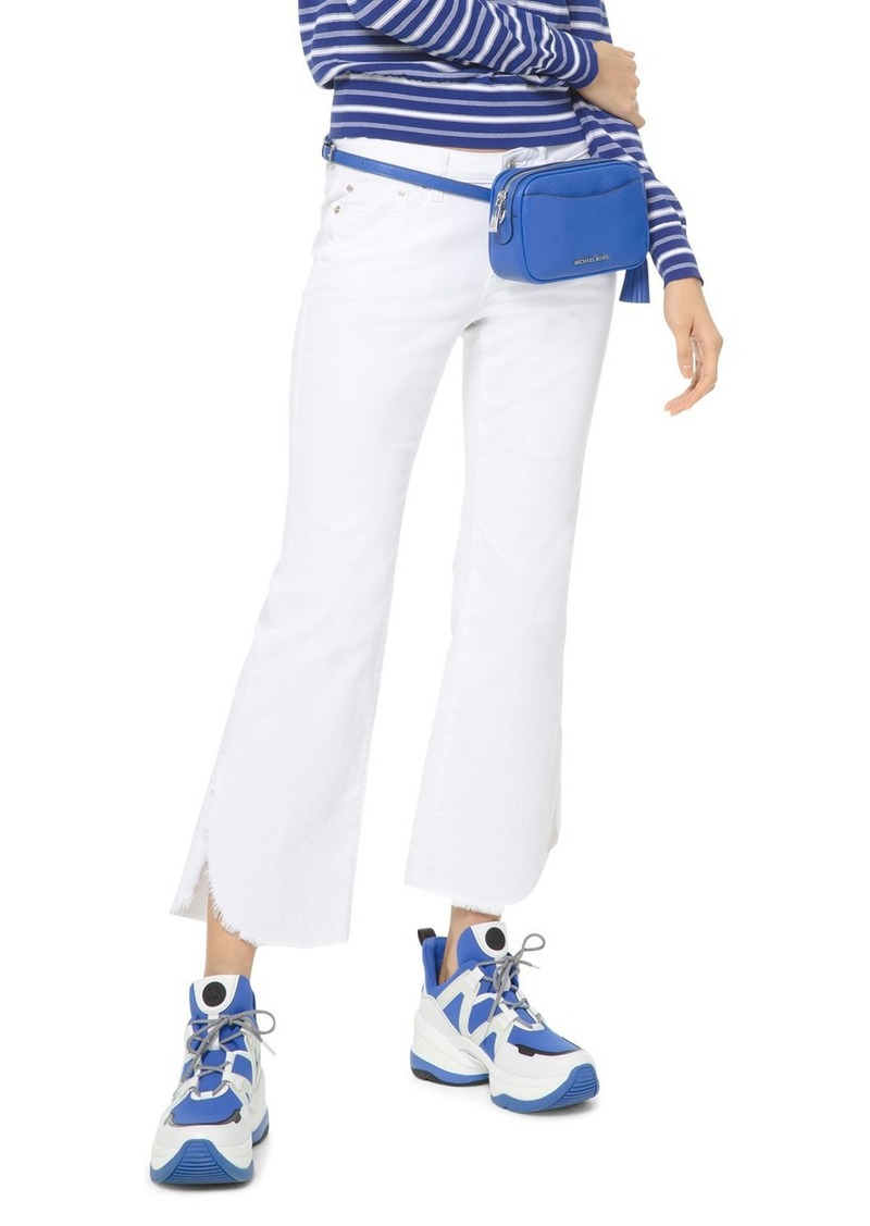 MICHAEL Michael Kors High-Rise Cropped Flared-Leg Jeans in White