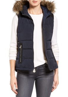 MICHAEL Michael Kors Hooded Puffer Vest with Faux Fur Trim