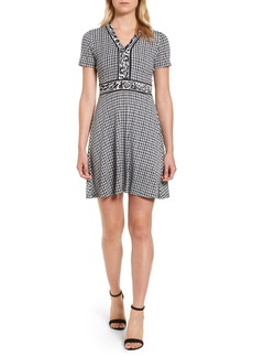 MICHAEL Michael Kors Houndstooth Cat Border Fit & Flare Dress